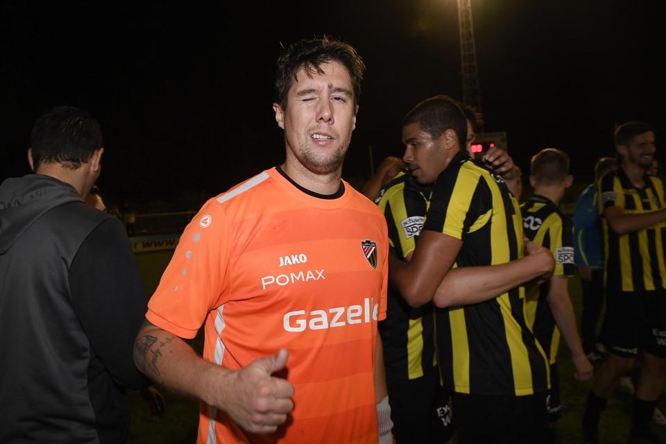 Lyra-Lierse-doelman Kristof Maes had een groot aandeel in de winst van zijn ploeg tegen Wijgmaal. De duim mocht dus terecht omhoog.