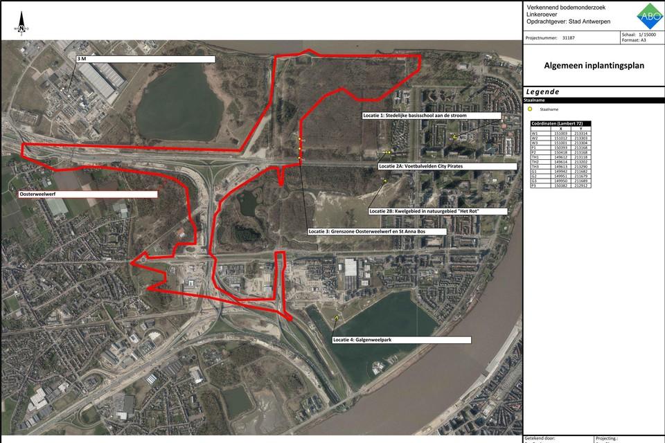De locaties waar bodemstalen werden genomen op Linkeroever.