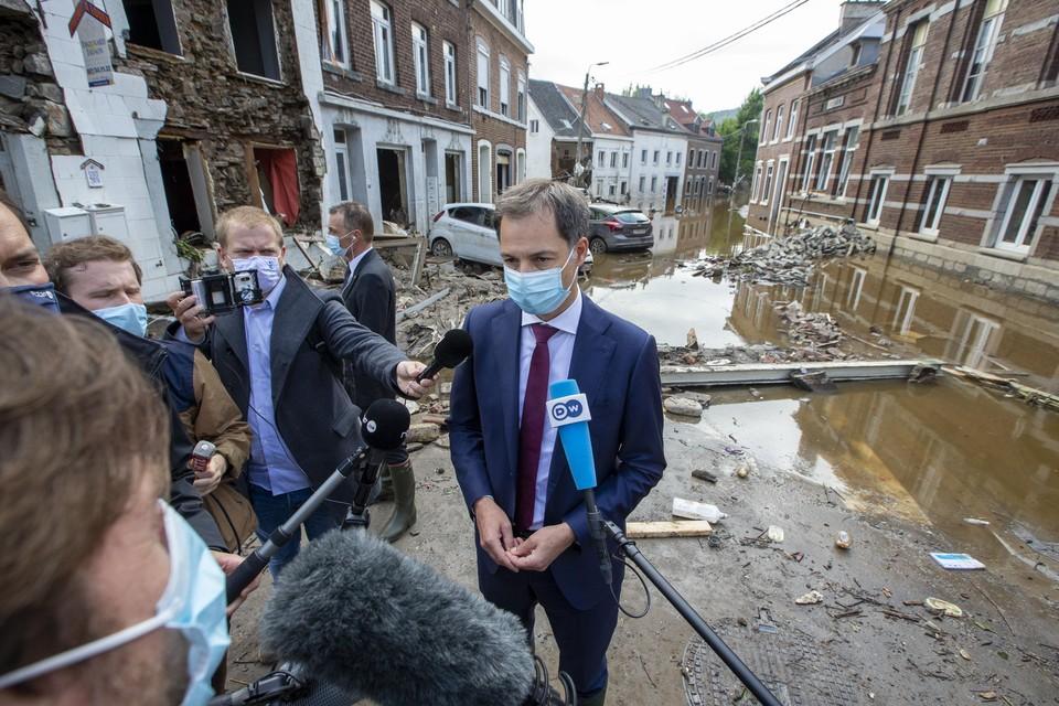 Premier Alexander De Croo bezocht Pepinster in juli en beloofde dat het federale niveau het zwaargetroffen Wallonië niet zou laten vallen.