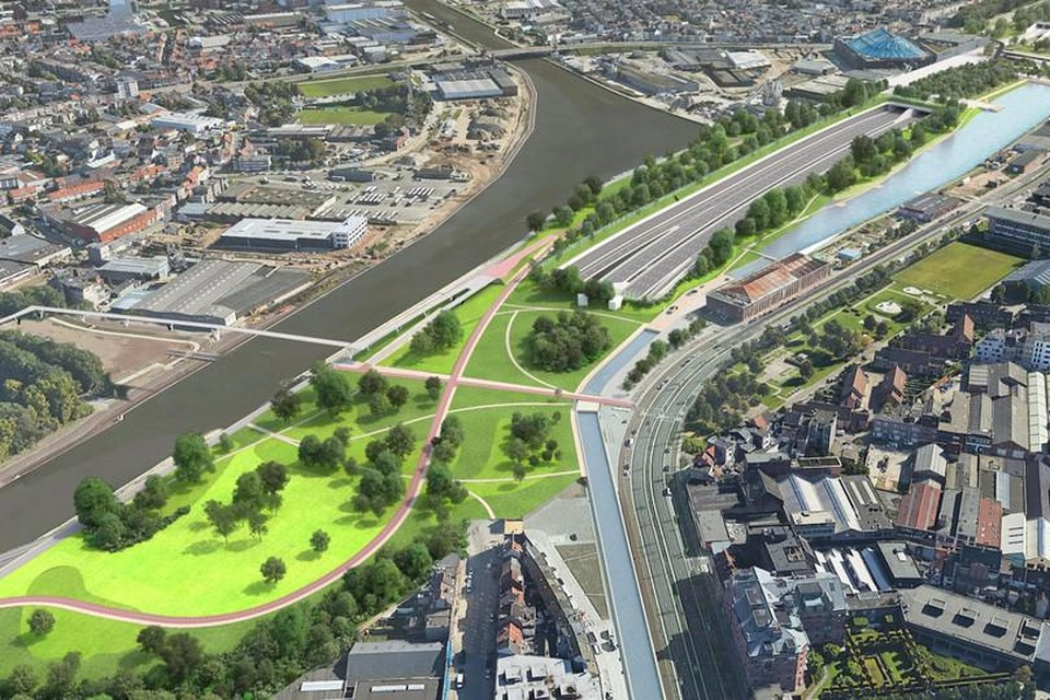 In 2030 is het viaduct van Merksem verdwenen. Onder meer naast het Lobroekdok ligt de Ring dan in een sleuf en bestaat de omgeving uit groen.