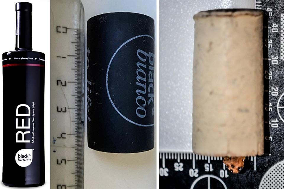 Wie in het bezit was van een fles van het merk Black & Bianco, werd gevraagd de politie te bellen. Links: de originele kurk. Rechts: de gemanipuleerde kurk.