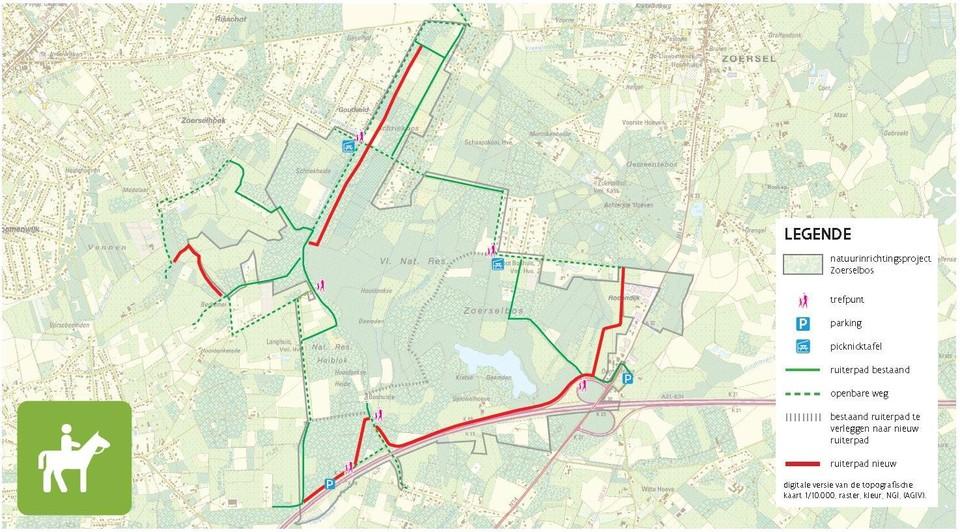 Het nieuwe ruiterpad in het rood zal onder meer langs de Sjauwel lopen.