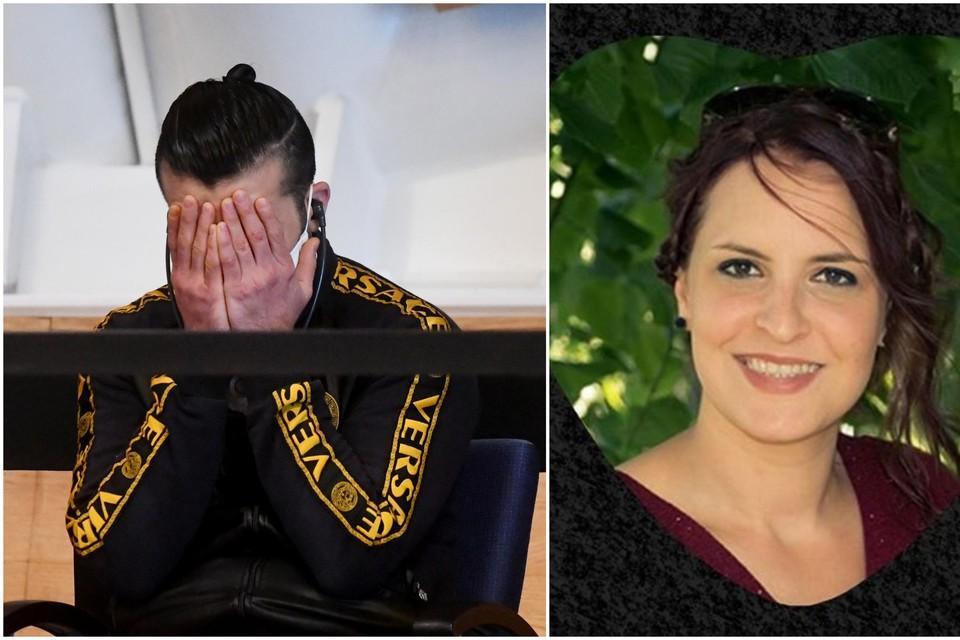 Babur Yoldash in de assisenzaal van Antwerpen. Hij werd veroordeeld tot 30 jaar cel, maar stapte vorige week zelf uit het leven. Rechts: Eleanore De Strijcker.