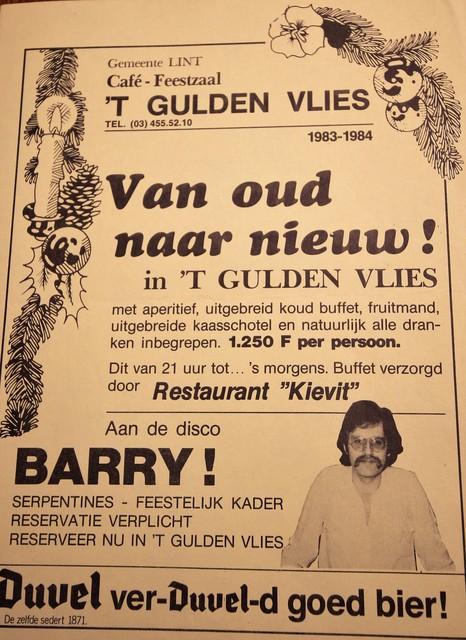 De aankondiging voor het oudejaarsfeest eind 1983.
