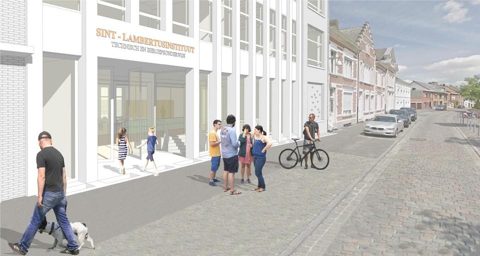 Zo gaat de voorkant van de school aan het kerkplein eruitzien na de werkzaamheden.