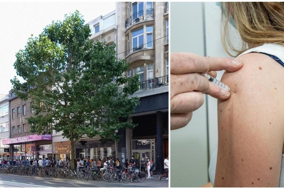Het vaccinatiepunt in de Carnotstraat op de eerste dag van vaccinatie (donderdag).