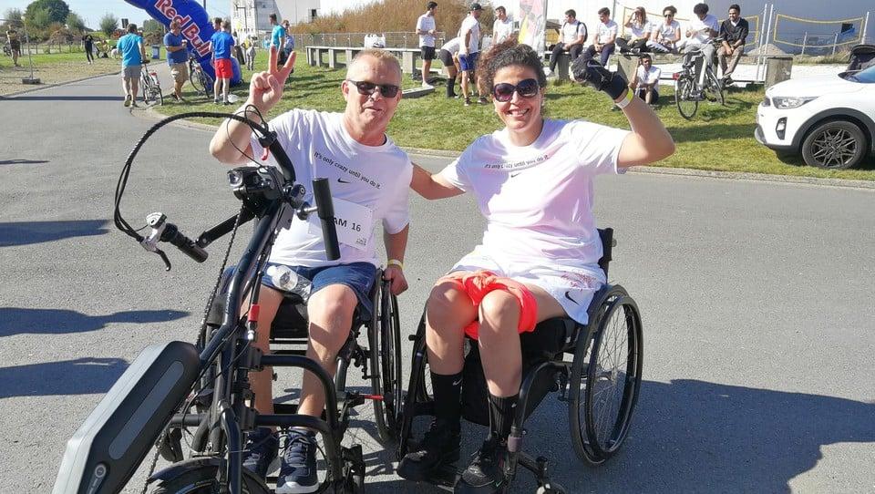 Luc Van Hooydonk en Yasmine Gielen leerden elkaar kennen op de postrevalidatie en zagen elkaar na lange tijd tijdens Run To Walk Again voor het eerst weer terug.