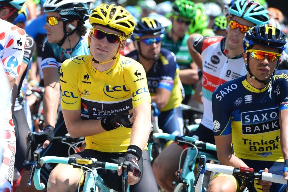 Jan Bakelants toen hij in 2013 twee dagen de gele tui droeg in de Ronde van Frankrijk. Zaterdag start de Kempenaar in zijn zesde Tour.