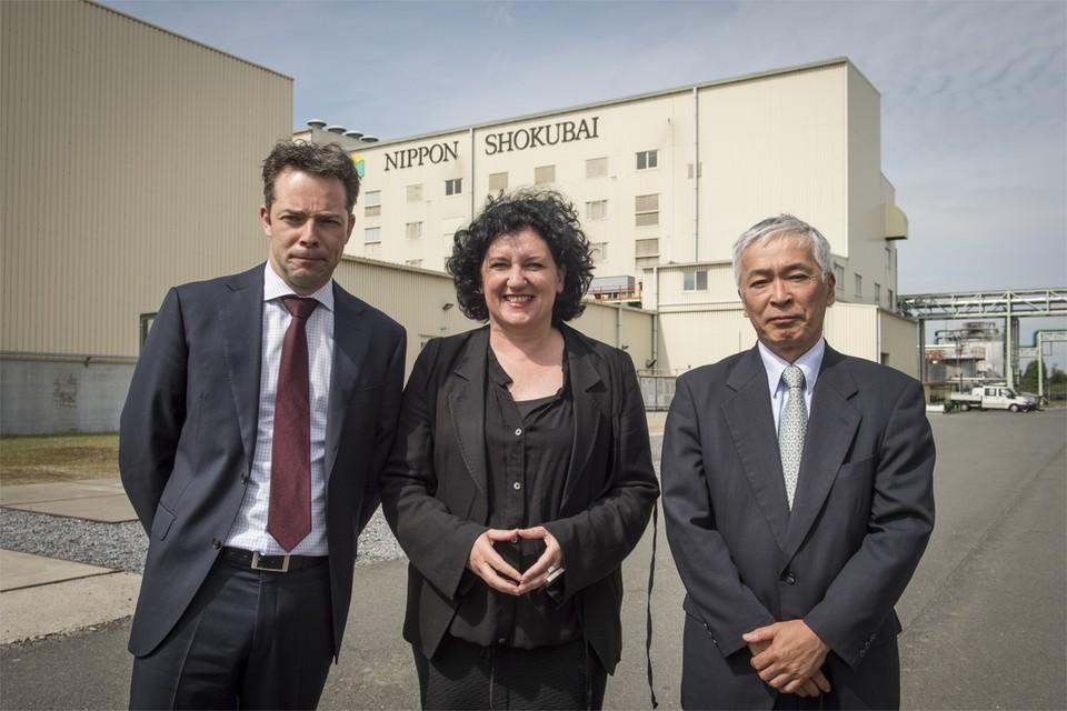 Roel De Vil, minister Annemie Turtelboom en Hidetaka Yatagai