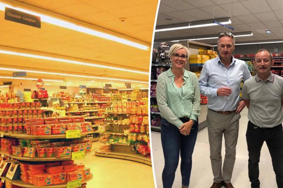 Rechts: Stefaan Francken (in het midden) tussen winkelverantwoordelijken Cindy Vandamme en Gert Steegmans. Dit is de laatste foto die Stefaan nog heeft van supermarkt Francken in Ranst.