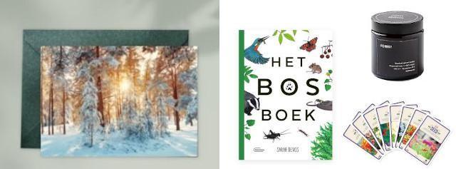 Gepersonaliseerde kaart - EcoTree, Het bosboek - 24,99 euro - Uitgeverij Manteau, geurkaars met bosgeur - 9,50 euro - Mulières, assortiment van bloemenzaden - 11,96 euro - BAZA House of Seeds
