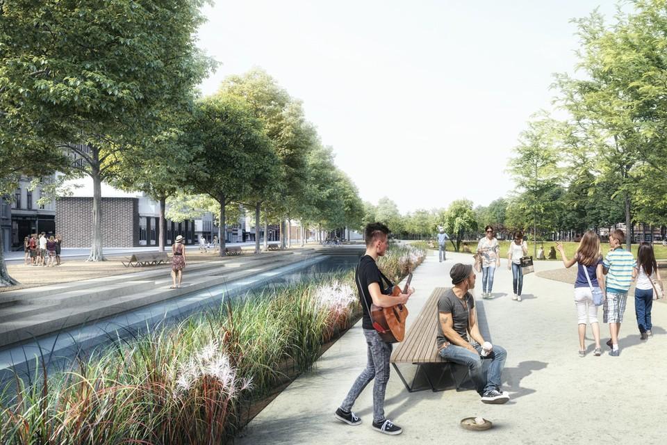 Ontwerpbeeld van hoe het park er zal uitzien. Het zuidelijke deel is in het voorjaar van 2022 klaar.