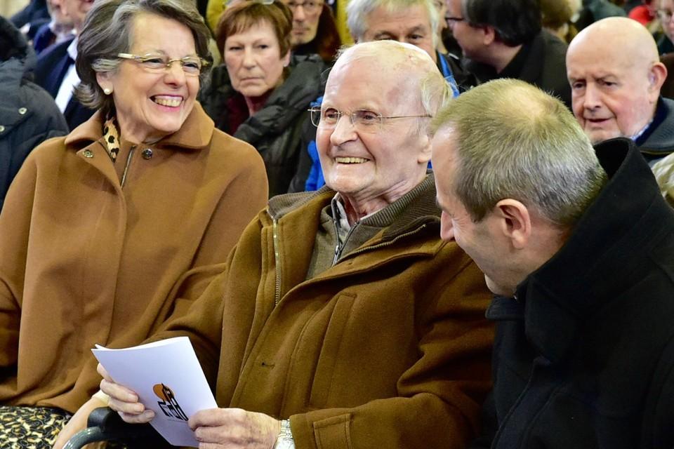 Priester Bob Peeraer tijdens het huldeconcert voor zijn negentigste verjaardag ruim een jaar geleden.