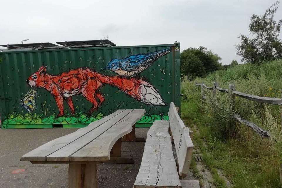 De container van het jarige Natuurpunt is door de schildering van Dzia een ware blikvanger.