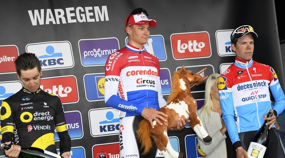 Mathieu van der Poel won in 2019 voor Anthony Turgis en Bob Jungels.