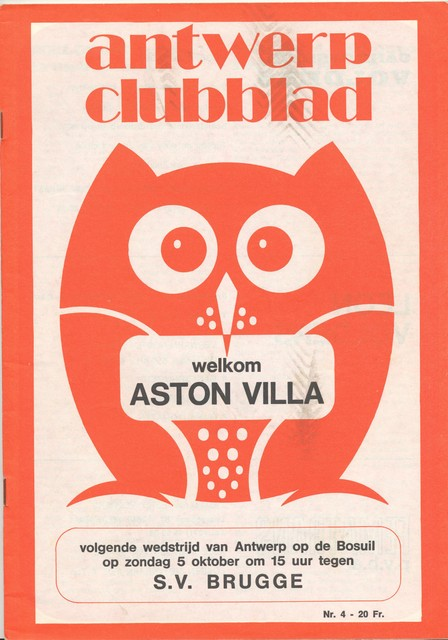 Een clubblad uit 1974, voor de Europese wedstrijd tegen Aston Villa.