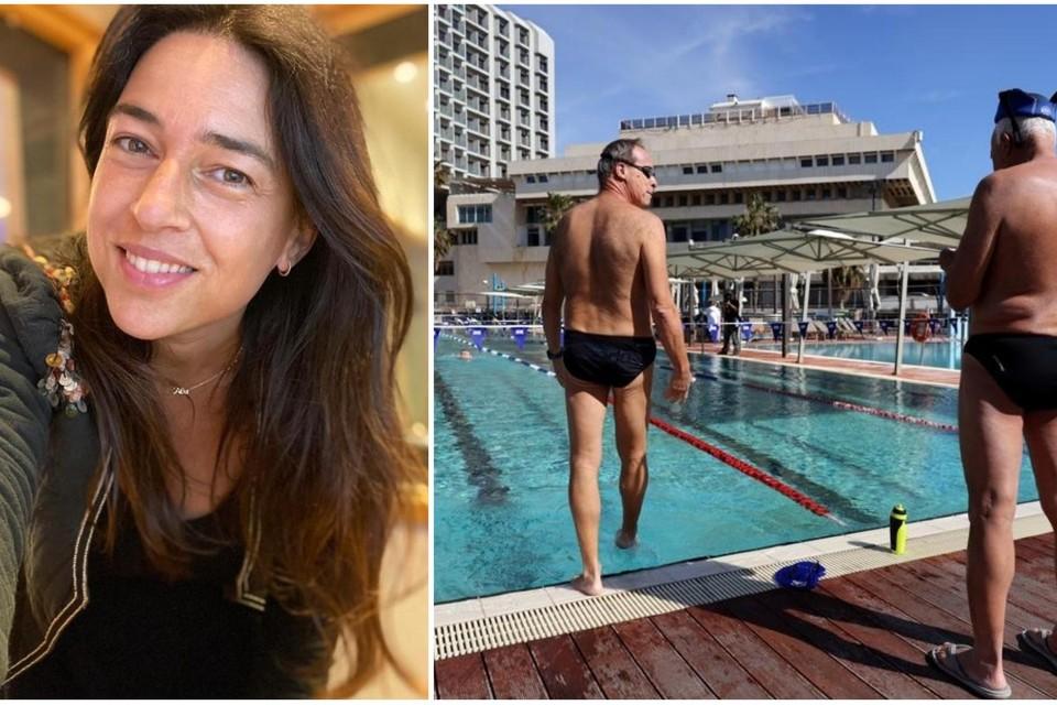 Marilyn Ambach (links). Heel wat zaken zijn in Israël weer open, waaronder ook zwembaden.