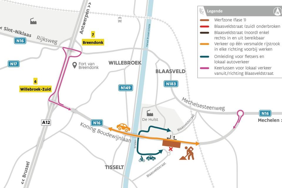 AWV start maandag met de omvorming van de rotonde tot een kruispunt met verkeerslichten.