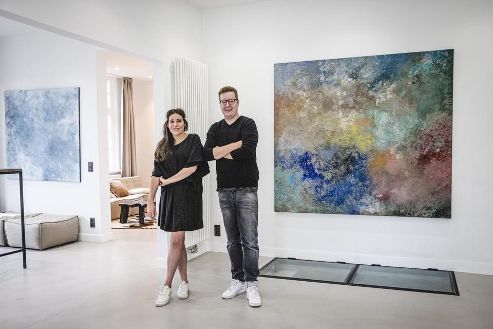 Liesbeth Spruyt en Dries Vinck in Fabriek 61, voor een canvas van Studio Spruyt.
