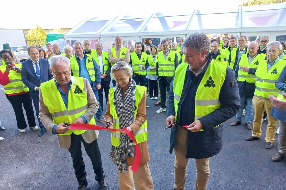 Fernand Huts, havenschepen Annick De Ridder en Vlaams minister-president Jan Jambon.