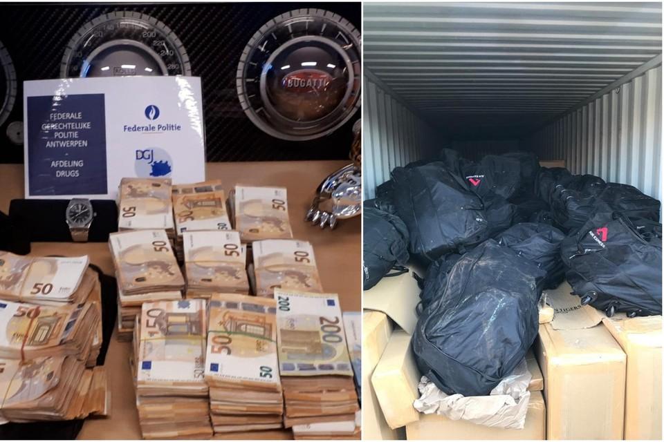 Er werd ongeveer 300.000 euro cash en 1,3 ton cocaïne aangetroffen.