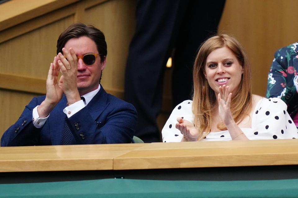 Prinses Beatrice en haar man Edoardo Mapelli Mozzi op Wimbledon.