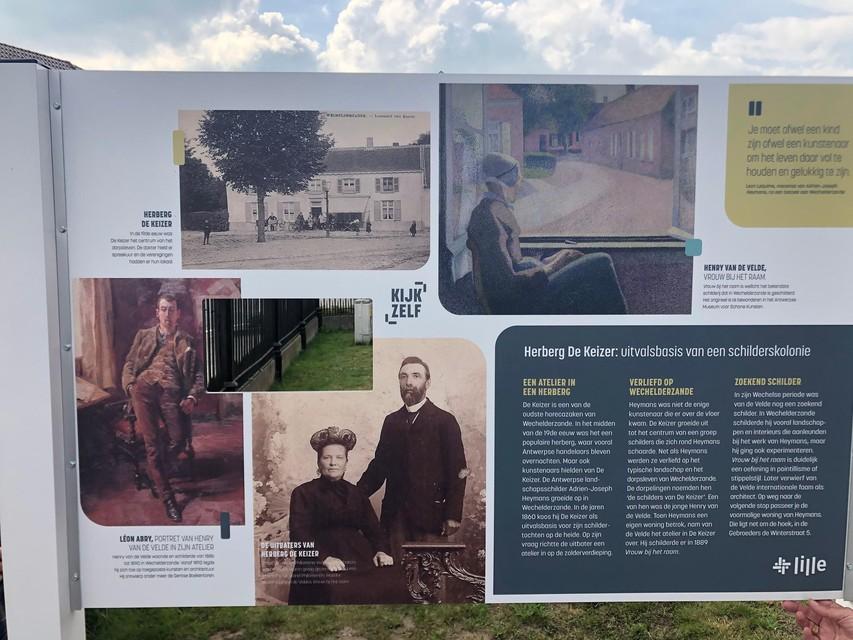 De infoborden vertellen tijdens de wandeling over het rijke schildersverleden van Wechelderzande.