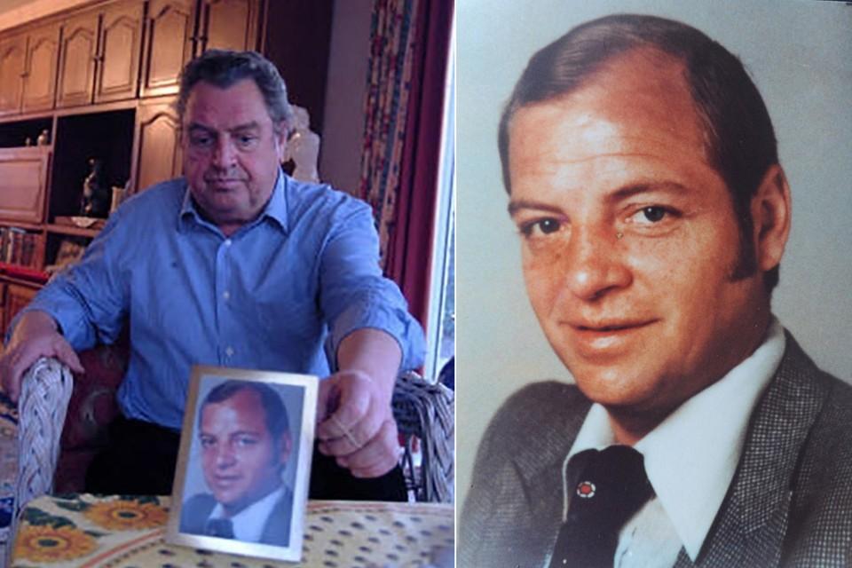 Links: André De Cnodder met een foto van zijn vermoorde broer René. Rechts: René De Cnodder.