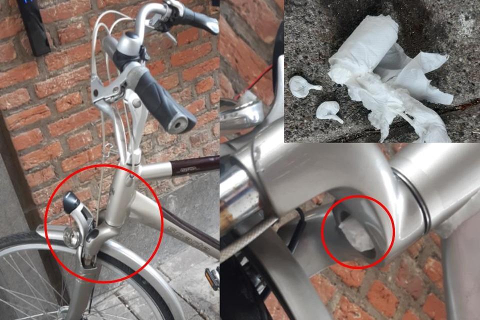 De dealer had zijn koopwaar verstopt in de voorvork van zijn fiets.
