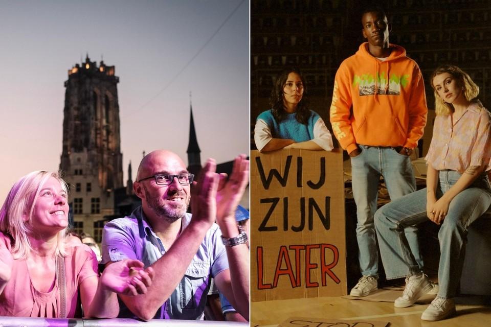 Links: een archiefbeeld van Maanrock. Met DWW Fest krijgt Mechelen er nog een stadsfestival bij dit jaar. Rechts: ambassadeurs Kawtar Ehlalouch, Stéphan Tanganagba en Gloria Monserez.