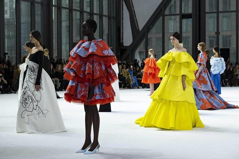 Een beeld uit de modeshow van Caroline Herrera in New York begin februari 2020.