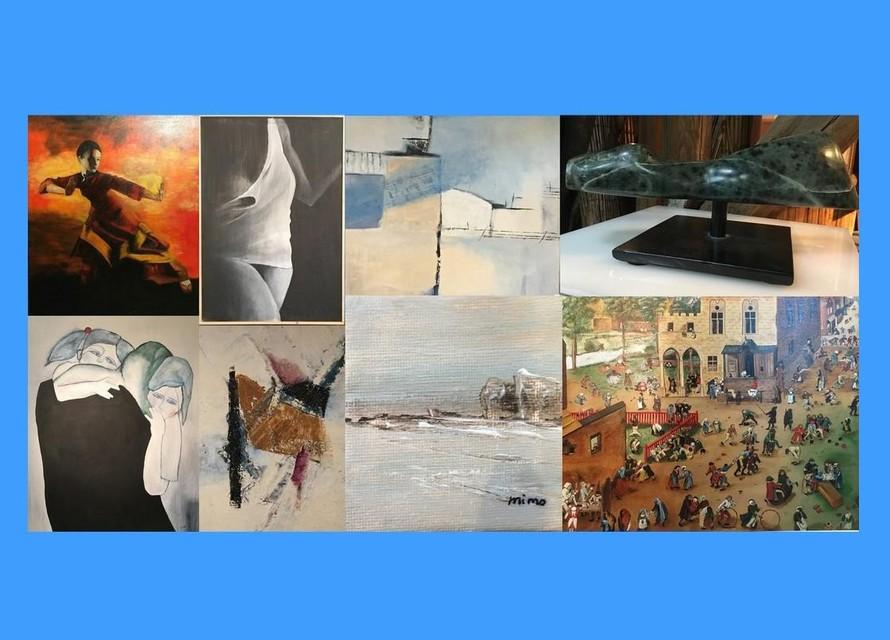 Een collage van de tentoongestelde werken.