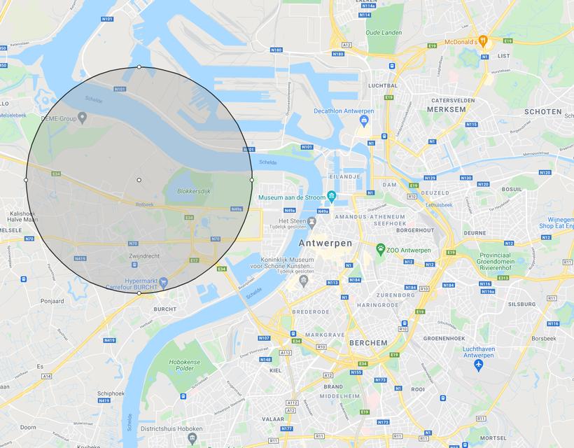 Een straal van drie kilometer rond de fabriek.