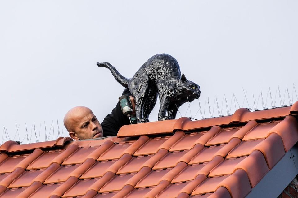 Een dakwerker monteert nauwgezet de kat op het dak.
