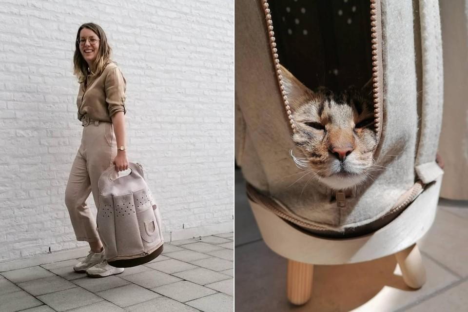 Jasmien de Hoon met haar ontwerp. Door een rits te openen, kan de kat half uit de zak hangen.
