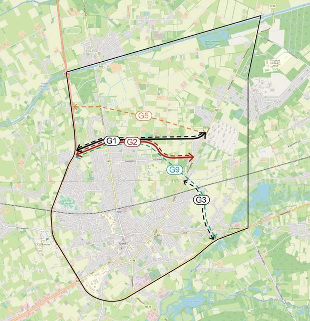 Drie van de vijf alternatieven liggen ten noorden van Geel, eentje ten oosten en de laatste is een combinatie.