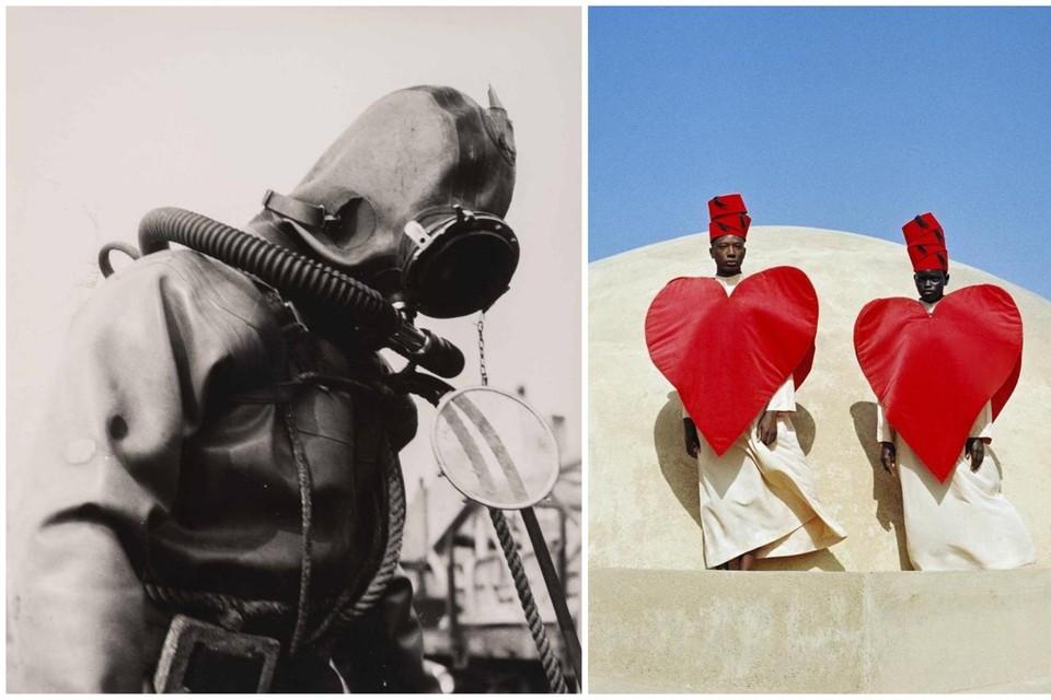 LINKS : Een duiker maakt zich klaar. 1960-1970. RECHTS: To the moon and back' (2020)