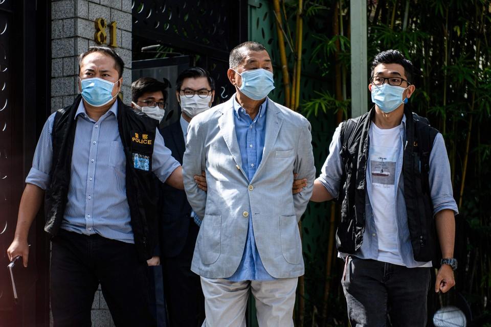 Mediatycoon Jimmy Lai werd opgepakt op verdenking van samenwerking met een buitenlandse mogendheid.