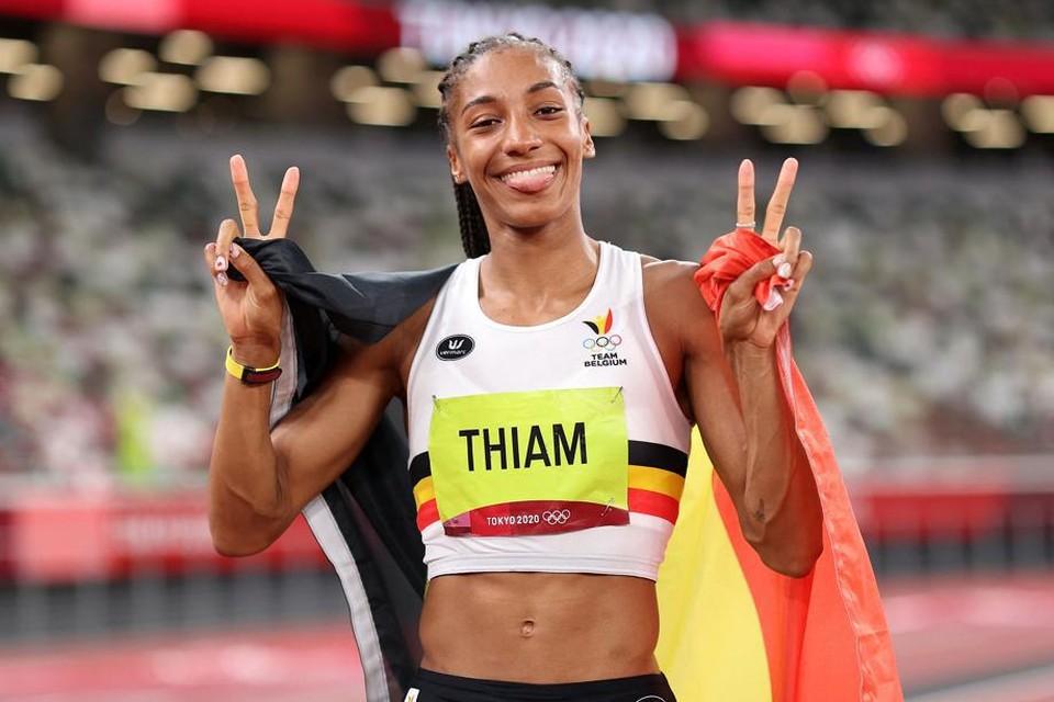 Nafi Thiam pakte haar tweede olympische titel op rij.