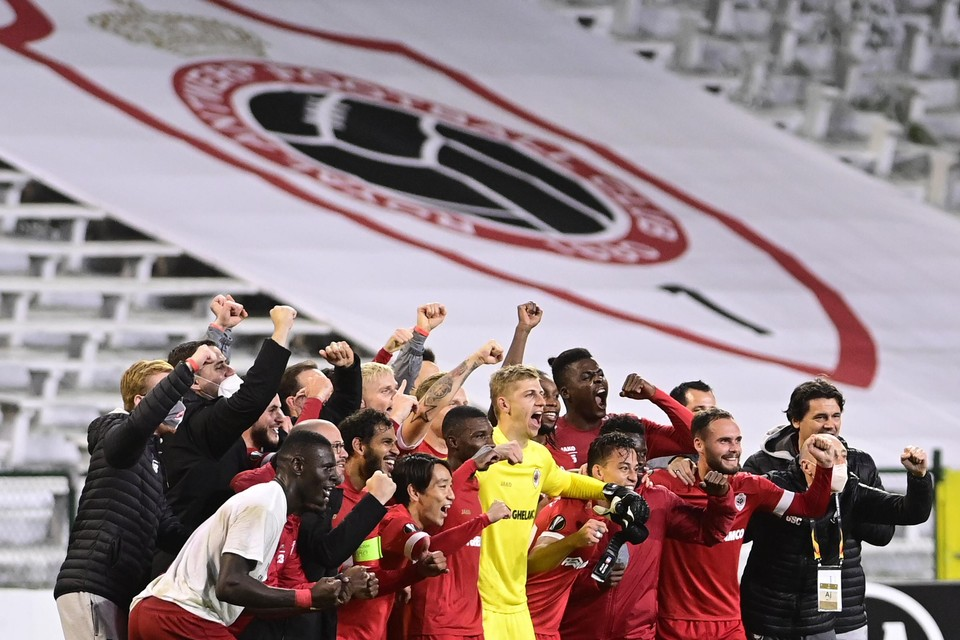 Antwerp na de thuiszege tegen Tottenham in de Europa League.