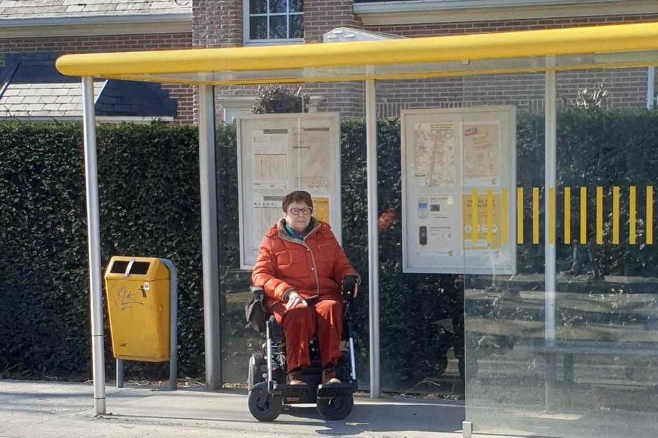 Paula De Leeuw zit in een rolstoel en kent de problemen die te smalle voetpaden of te hoge stoepranden aan bushaltes opleveren.