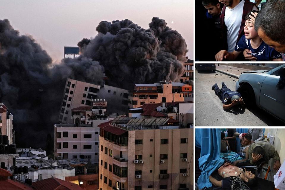 Zwarte rookpluimen boven Gaza-stad na Israëlische luchtaanvallen. Het is de zwaar confrontatie sinds 2014. Palestijnen rouwen om dodelijke slachtoffers van het geweld.