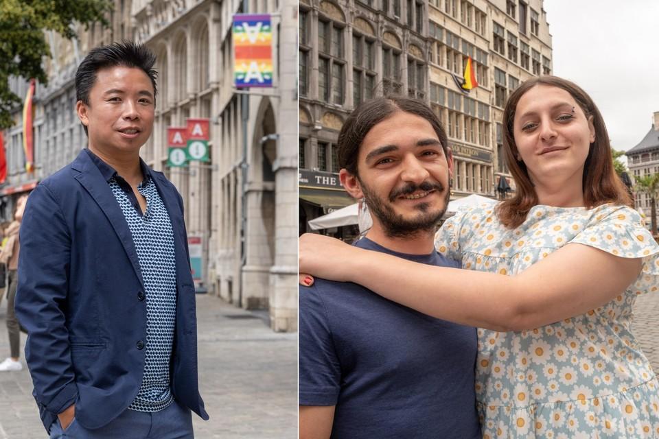 Links: Chi Kong Man, voorzitter van Shouf Shouf. Rechts: Homo Emzo Kvaratskhelia en transgender Monica Tigishvili zijn uit Georgië gevlucht omdat ze vreesden voor hun leven.