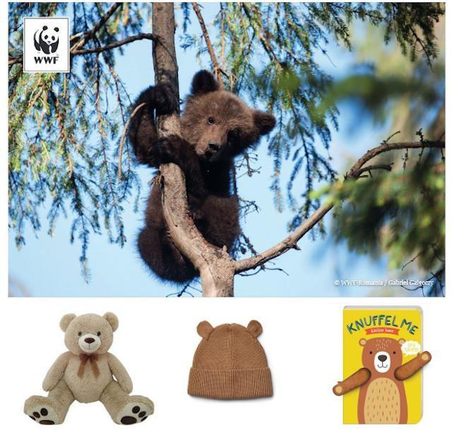 Steunkaart WWF, grote knuffelbeer - 24,95 euro - Dreamland, berenmuts voor kinderen - 22 euro - De Gele Flamingo, Knuffel me, kleine beer - 9,50 euro - Image Books Factory