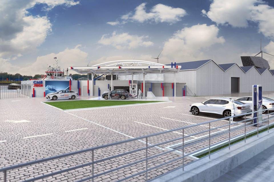 Zo zal het waterstoftankstation van CMB aan het Havenhuis in Antwerpen er begin volgend jaar uitzien.