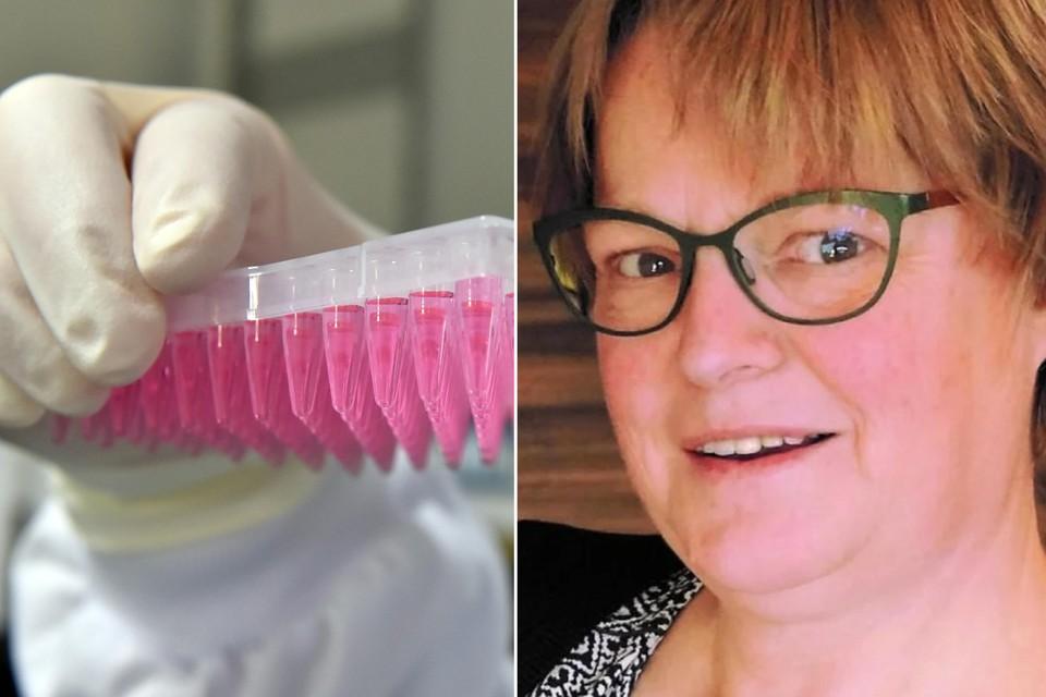 Links: themabeeld van DNA-stalen in een labo. Rechts: Mieke Verlinden.