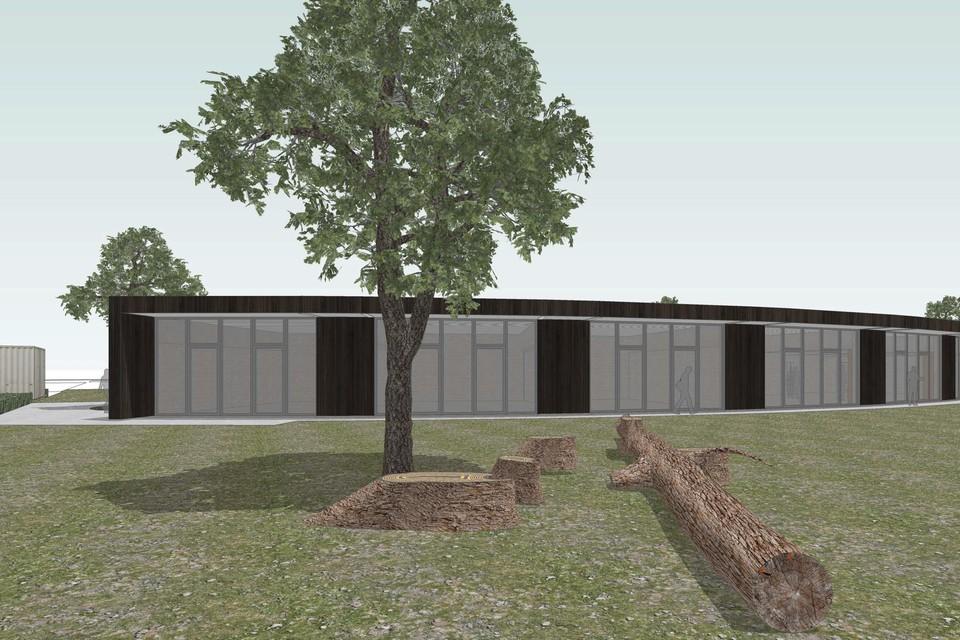 Zo zal het gebouw van de Chiro eruitzien: alles op het gelijkvloers, in een mooi gebogen vorm en bekleed met hout.
