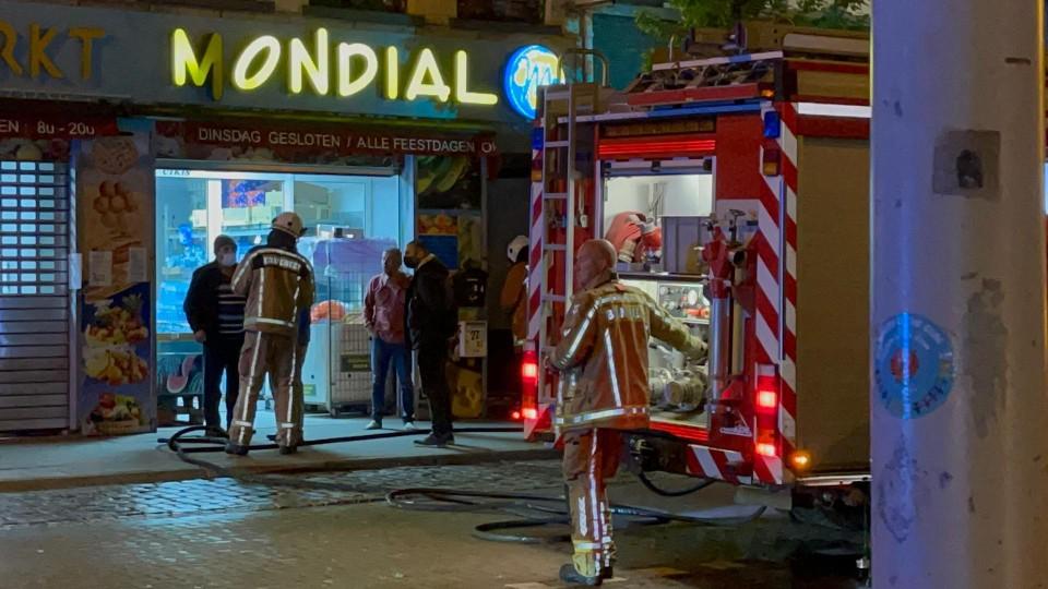 Der combi was op weg naar een brand in de Frederik Peltzerstraat.