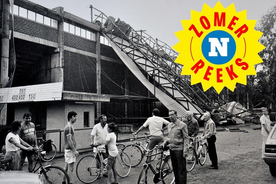 Niet alleen de kermistent in Sinaai maar ook de tribune van het stadion van Sporting Lokeren ging in 1986 de lucht in.