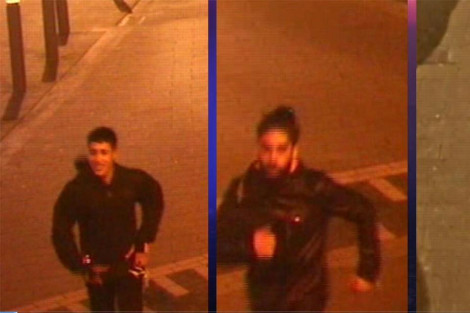 De drie verdachten werden gefilmd toen ze na de roof wegvluchtten.